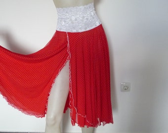 POLKA DOT Tango & Salsa Skirt with high Slit available US 4 and 6  Milonga Dance Wear amazing  Lace  Tango Jupe adorable Robe