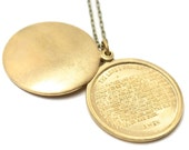Prayer -- stamped Lord's Prayer swivel locket pendant necklace