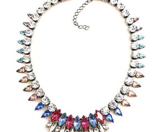 Luxury Swarovski Navette Rhinestone Necklace Fuchsia tones - GYPSY PRINCESS