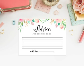 Instant Download - Spring Showers Baby Shower Advice Card