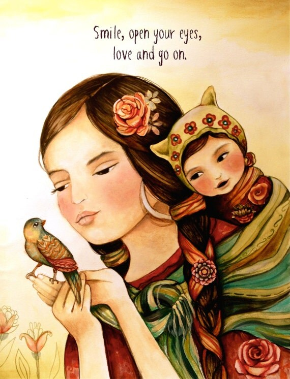 Mother and child with bird art print with quote