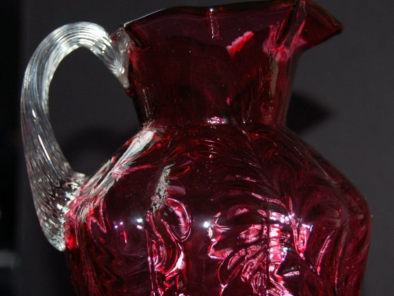 vintage cranberry glass pitcher