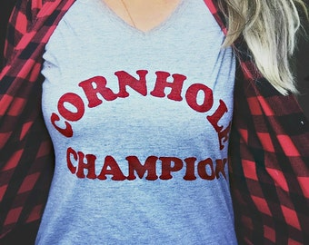 Cornhole Champion Tee // Customizable Tops // Unisex Tees