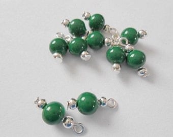 Green Opaque Dangle Beads