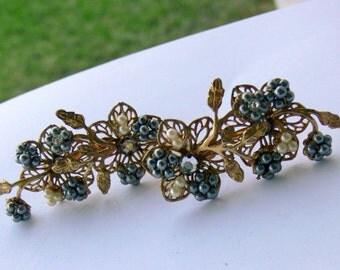 seed pearl and rhinestone clip earrings
