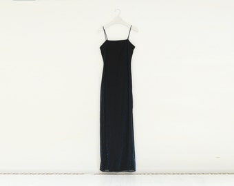 Vintage Jump Black with Blue and Purple Sparkle, Evening Dress, Made in USA, Size Small / ITEM612