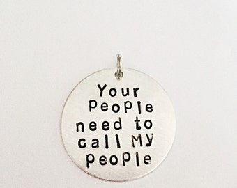 Pet ID Tag - Hand Stamped Pet Tag - Your People Need To Call My People - Aluminium Pet Tag