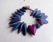 Love Bravely - handmade bracelet, heart bracelet, bead bracelet, blue purple bracelet, purple jewellery, songbead, uk, rose quartz serenity