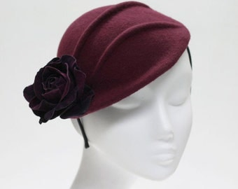 Burgundy Felt Hat w/ Rose & Pintuck Detail  - Kiru