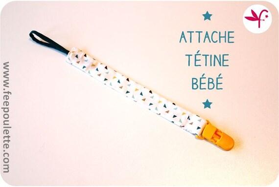 Attache t tine sucette b b en tissu imprim by bypoulette - Attache tetine tissu ...