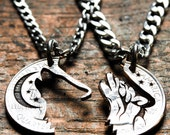 Howling Tribal Wolf with Moon Interlocking necklaces, Best Friends jewelry, Coin that has been cut and etched