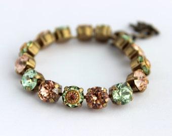 Swarovski Bracelet, peach and mint bracelet, rhinestone bracelet, tennis bracelet, Chrysolite bracelet, bridesmaid bracelet, peach  CO02