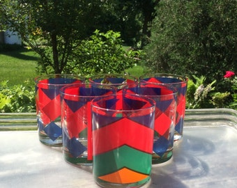Vintage Double Old Fashioned Glasses Set of 6 Mid-Century Lowball Red Blue Diamonds Green Orange Geometric Barware Multi Color Chevrons