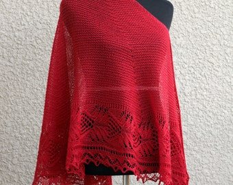 Knit shawl, wool shawl, red shawl, lace shawl, knitted wrap gift for her crimson red shawl