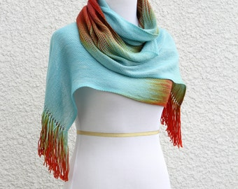 Woven scarf, pashmina scarf, gift for her, women scarf gradient color blue, red orange gold long scarf with fringe