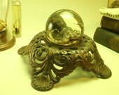 RESERVED for JUSTIN Blue Ring Octopus Preserved Wet Specimen Inside Small Glass Sphere On Antique Victorian Base