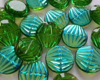2 glass jewels, Ø18mm, green AB, round