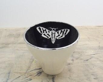 One Death's Head Moth White, Black & Silver Porcelain Tea Cup, Saki Cup, Tea Bowl-Hostess Gift, Bug Art, Goth Gift, Steampunk Gift