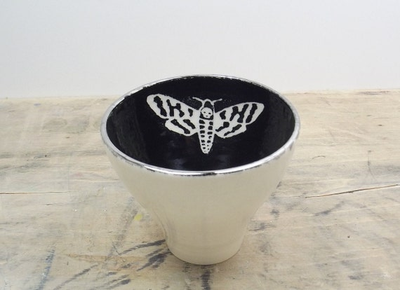 Death's Head Moth White, Black & Silver Porcelain 5oz. Small Tea Cup, Tea Bowl, Saki Cup