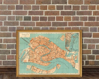 Vintage map of Venice  - Archival reproduction - Old city maps - Venice map print