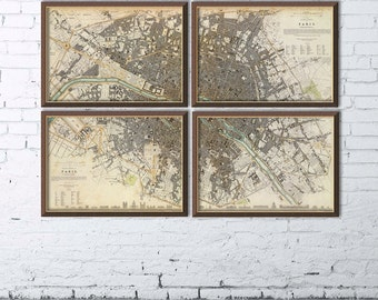 Map of  Paris in 4 panels -  Sectional map of the city of Paris - Fine reproduction