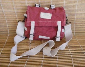 Vintage Small Size Washed Out Red And White Canvas Shoulder Strap Bag