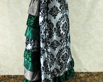 "Steampunk Victorian Ruffled Back Hannah Skirt - Black, Silver, & Green - Ready to Ship - Best Fits Up To 40"" Waist, 38 1/2"" Long"