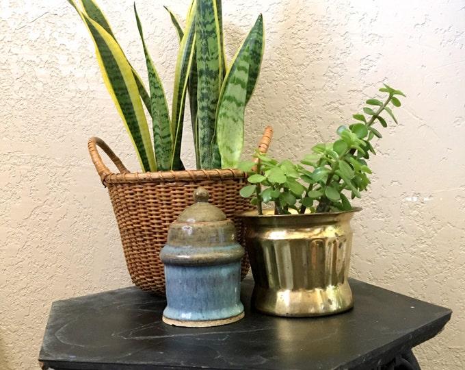 Vintage Blue 1989 Ceramic Jar / Vase / Planter with Top Lid