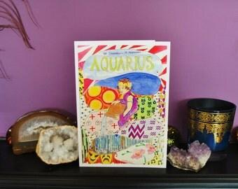 Aquarius birthday card zodiac cards star sign astrology cards horoscope