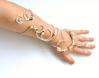 Silver heart arm cuff slavebracelet with diamonte and pearls Valentine Alternative Bouquet Prom