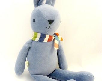 blue bunny rabbit stuffed animal - soft, washable, embroidered