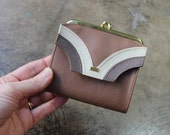 1960's Wallet / Small Taupe Bill Fold / Vintage Coinpurse