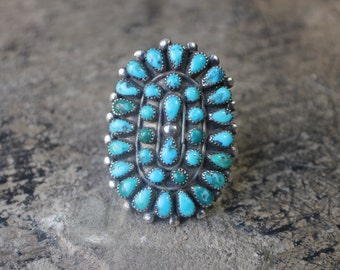 Large Turquoise RING / Early Southwest Jewelry / Sterling Silver Petite Point Turquoise Ring / Size 7 1/4