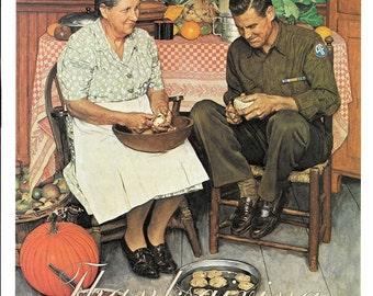 Vintage Rockwell Thanksgiving Pumpkin Servicemen Military Air Force Grandmother Baking Americana Framable Holiday art Christian prints