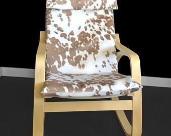 Custom Cow Print IKEA POÄNG Cushion Chair Cover - Udder Madness Palomino