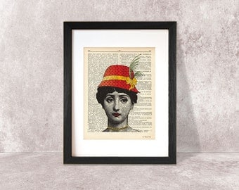 Lina Cavalieri with hat print-woman print-modern print-funny print-home decor-lina cavalieri poster-music print-by NATURA PICTA-NPDP071