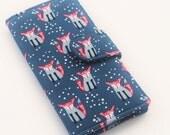 Fox Wallet, Womens Clutch, Vegan Bi fold Wallet, Woodland Print in Navy