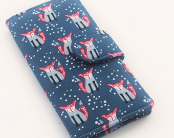 Fox Wallet, Womens Clutch, Vegan Bi fold Wallet, Woodland Print in Navy