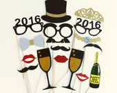 2016 New Year Holidays GLITTER 16 Piece Set Photo Booth Props - Wedding Party Favor