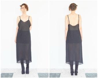 90s Sheer Black Spaghetti Strap Slip Dress