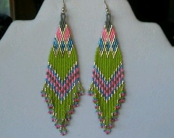 Native American Style Beaded Green and Silver Earrings Boho, Brick Stitch Southwestern, Brick Stitch, Gypsy, Geometric,  Ready to Ship