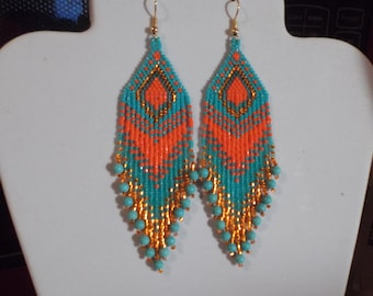 Native American Style Beaded Bright Spring Color Turquoise Orange Earrings Southwestern, Hippie, Boho, Gypsy Brick Stitch Peytote Great Gift