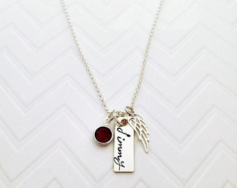 Memorial Bar Name Necklace - Hand Stamped Name Jewelry - Angel Wing Jewelry - Personalized Sympathy Gifts - The Charmed Wife - Grief Gifts
