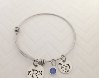 Pharmacy Student Bangle Bracelet - Pharmacy Tech Gift - Pharmacy Graduation Gifts - Hand Stamped Jewelry - The Charmed Wife - Medicine