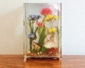 Vintage 1970s Lucite Botanical Flowers Paperweight