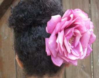XL Large pink rose hair flower clip, Pink hair flower, pinup, big hair, LAST ONE