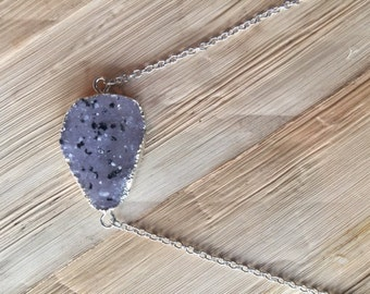 Black speckled druzy necklace