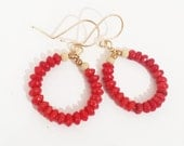 Red Coral Earrings - Red Stone earrings,  Hoop Earrings, March Birthstone Jewelry, Gift For Her, Delicate and Feminine
