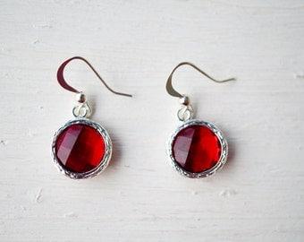 Red Glass Stone Drop Earrings