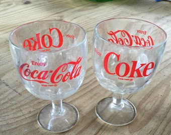 Set of 2 Vintage Coca Cola Goblets Vintage Coca Cola Glasses Coca Cola Stemmed Glasses